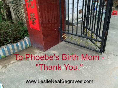 "To Phoebe's Birth Mom – ""Thank You."""